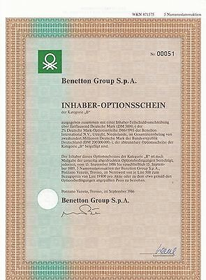 "Benetton Group S.p.A.  Inhaber-Optionsschein der Kategorie ""B"" 09/1986"