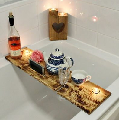 LARGE OIL Burned Wooden Over Bath Tray CADDY for Phone Wine Candle ...