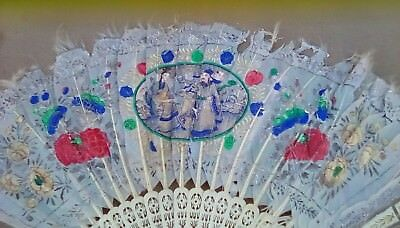 Vintage Antique Chinese Hand Carved & Painted Feather Hand Fan w/ Box Needs TLC