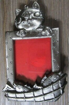 "Small Silver Metal Cat with Fish Picture Frame - Photo Size 1.5"" x 2"""