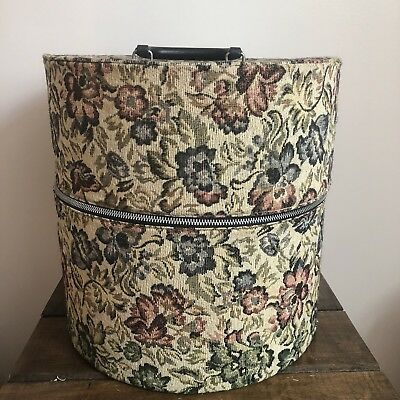 Vintage Munro Carry All Wig Hat Carrier Tapestry Travel Case pink green tan