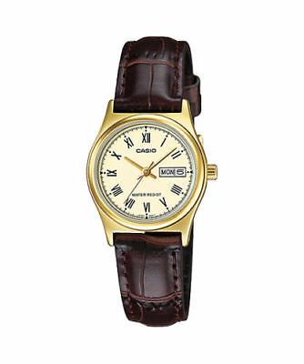 Casio LTP-V006GL-9B Women's BROWN Leather Watch Roman GOLD Dial Day Date NEW