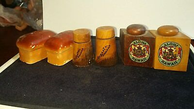 Lot Of 3 Sets Salt & Pepper Shaker vintage wooden