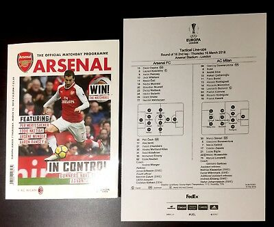 ARSENAL v AC MILAN UEFA EUROPA LEAGUE PROGRAMME WITH TEAM SHEET 15th March 2018