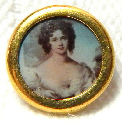 ANTIQUE VICTORIAN GILT RIM BUTTON w/HAND TINTED PHOTO of BEAUTIFUL WOMAN