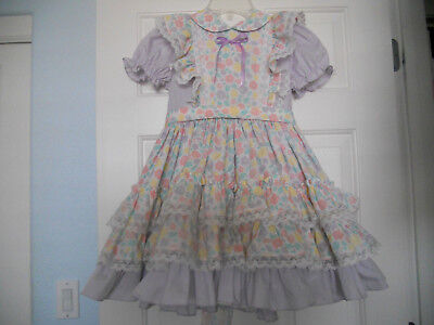 VINTAGE CALIFORNIA GOLDEN AGE PINAFORE STYLE RUFFLED DRESS sz 7 party pageant