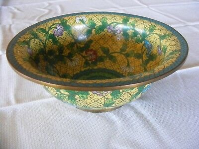 """Chinese Cloisonne Large 8 5/8"""" Brass Bowl Stamped Made in China"""