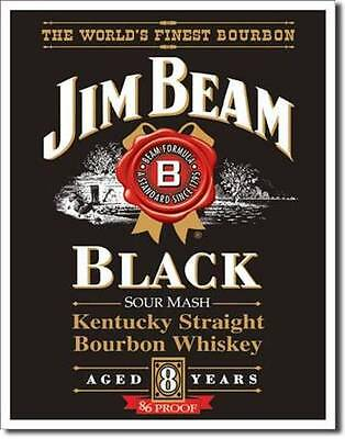 Jim Beam Black Label USA Metall Werbung Schild Plakat