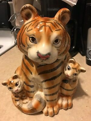 Vintage Fitz and Floyd OCI Tiger with cubs Cookie Jar Large Rare