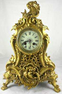 Superb  Antique French 19thc Japy Freres Solid Gilt Pierced Bronze Mantle Clock