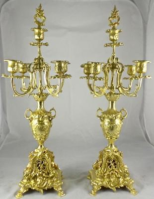 Pair of XL Antique 19th c Gilt Ormolu Bronze Mantel Clock Candelabra Garnitures