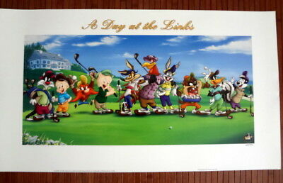 LOONEY TOONS Art DAY AT THE LINKS Golf LITHOGRAPH WARNER BROS Ltd Ed 2001 w COA