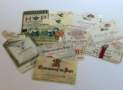 Collectors Dream 75+ Wine Labels 1950's to 1980's Domestic and Foreign