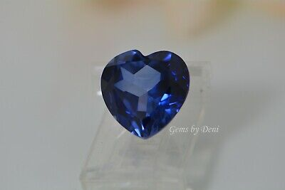 Heart Faceted Bright Blue Lab Created Sapphire (4x4mm to 14x14mm)