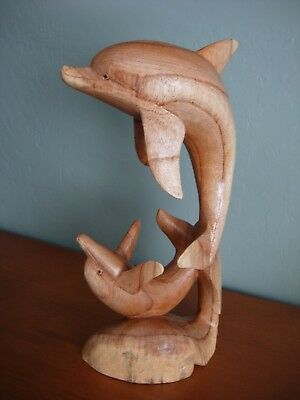 """14"""" Wood Carved Dolphin Mother & Baby Statue Figurine Nautical Style Decor"""