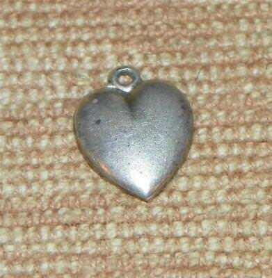 Vintage 800 Silver early German charm  2D simple small HEART puffy 1920s #14X