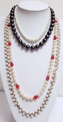 Long vintage hand knotted pearl & ruby glass bead necklace + 3