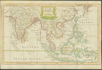 """1770 - Original Antique Map """"EAST INDIES"""" by T KITCHIN Hand coloured INDIA CHINA"""