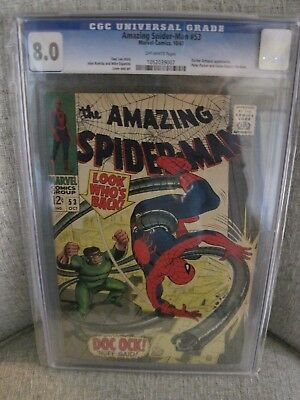 The Amazing Spiderman #53 CGC 8.0 OFFWHITE pgs 1st date with Gwen Stacy