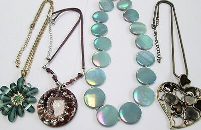 Three large vintage pendants & chains (gold metal, glass, lucite)+ bead necklace