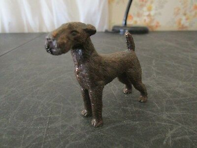 Vintage Bronze Finish Metal Airedale Terrier Dog Figure Figurine Paperweight