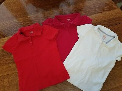 Gymboree Justice Girls 7 8 Red Ivory Uniform Polo Tee Shirt ** LOT OF 3 **