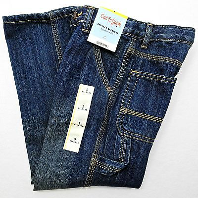 Cat & Jack Relaxed Straight Carpenter Jeans Childs Size 5 Adjustable Waist Pants