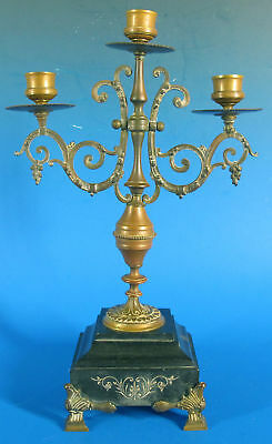 Antique Art Nouveau Footed 3 Candle Bronze Weighted Mantelpiece Candelabra yqz