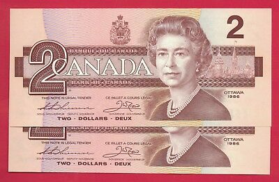 1986 $2 Bank of Canada Thiessen-Crow BBX Small B 2 Consecutive 0900762-3  Ch UNC