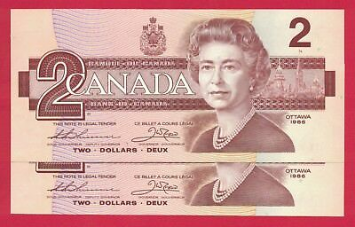 1986 $2 Bank of Canada Thiessen-Crow BGA 2 Consecutive 9460104-5 - Ch UNC