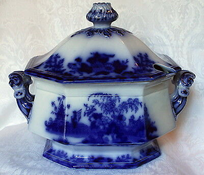 Rare Large Scinde Flow Blue Soup Tureen With Cover Pristine Condition