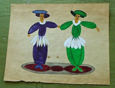 Vintage Disney Small Painting w/Pair of Unknown Characters-LOOK!