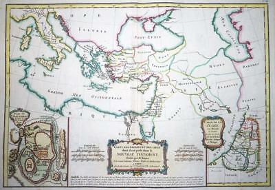 1771 - Original Antique Map of HOLY LAND JERUSALEM NEW TESTAMENT BLACK SEA