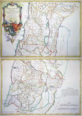 1763 - Pair of Original Antique Maps of ISRAEL PALESTINE & HOLY LAND GAZA SIDON