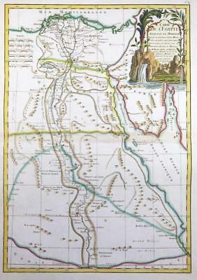 1762 Original Antique Decorative Map of EGYPT Carte de L'Egypte Nile Delta Sinai