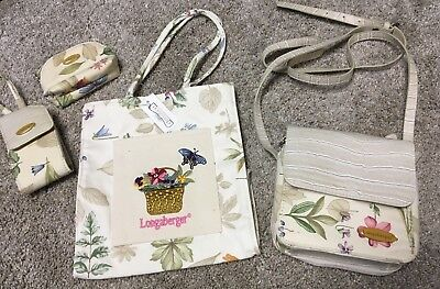 Longaberger Homestead Lot 4 Purse Tote Coin Phone Holder Wallet Ecru & Flowers
