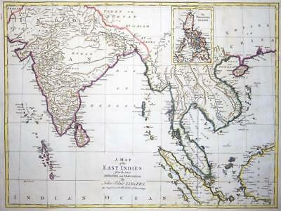 1773 Orignal Antique MAP OF THE EAST INDIES by John Blair S.E.ASIA CHINA BORNEO