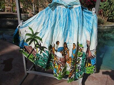 "Vintage 1950s Mexican handpainted circle skirt 26-29"" W cotton 33"" long"