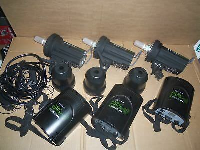 LOT 3 Calumet Genesis 300B w/ Genesis B Power Port Studio Flash Lighting Strobe