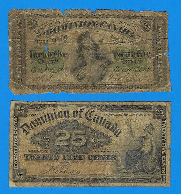 1870 & 1900 Dominion of Canada Twenty Five Cents 25C Fractional Notes