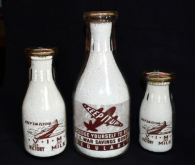 1943 WORLD WAR II Set of 3 Milk Bottles From Bottle Collection CHICO, CALIF.