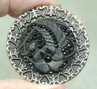 Lacy Black Glass In Brass Button W/ Heart Border ~ Floral & Feather   Metal