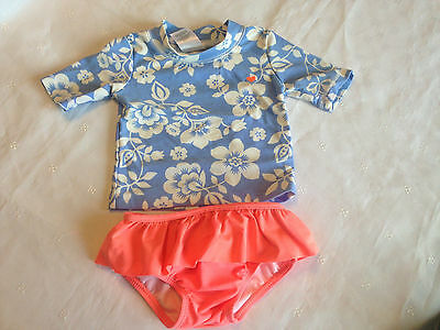 Carter's, Cute 2pc Floral Rash Guard Swimsuit Top & Bottom, Girl's, 12 months