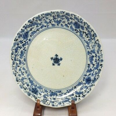 G886: Japanese old IMARI porcelain plate with flower arabesque pattern in 18c