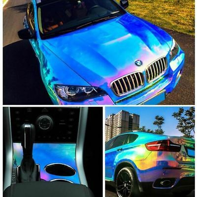 "30""x 53"" Holographic Rainbow Neo Chrome Car Vinyl Bubble Free Decal Sticker Film"