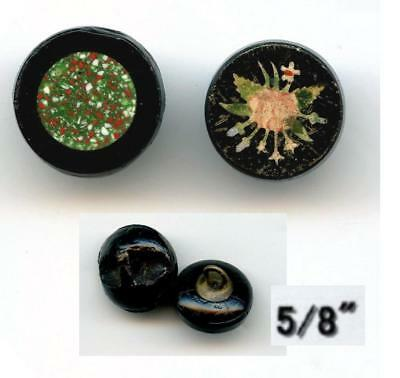 Floral And Multicolor Tile In Black Glass 2 Different Designs Old Buttons