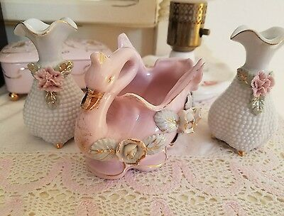 Vintage Japan Pink Swan Figurine Matching Vases-Aqua /Gold-lot 3-GORGEOUS