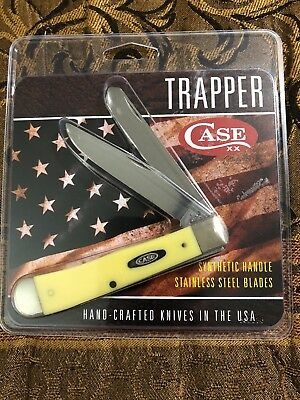 Case XX Yellow 2 Blade Trapper Pocket Knife USA NEW