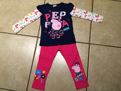 NWT Cute Peppa Pig Graphic-L/S-Tee & Leggings Set Choice 11 Styles SIZE 2T 2/3