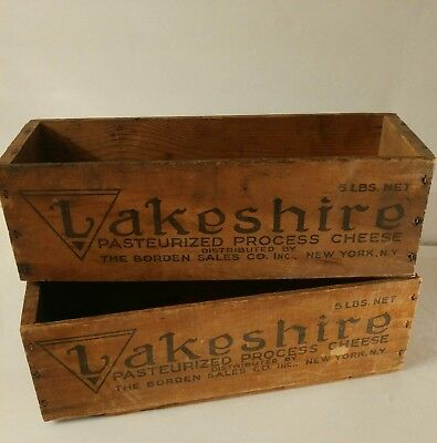 Lakeshire wood CHEESE boxes vintage old White American Cheese Box Lot of 2